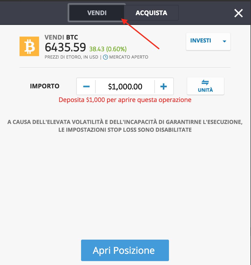 vendere allo scoperto bitcoin etoro
