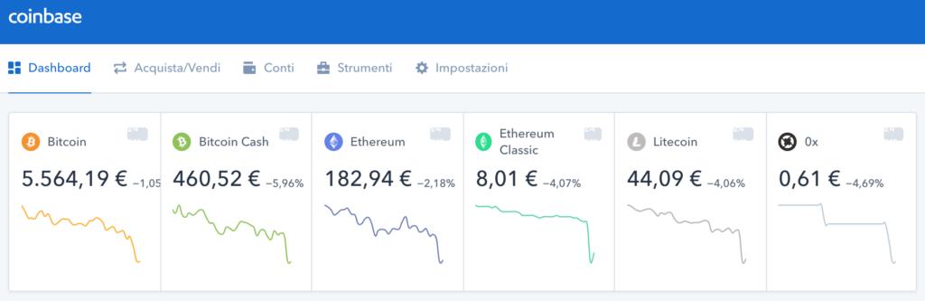 schermata iniziale coinbase