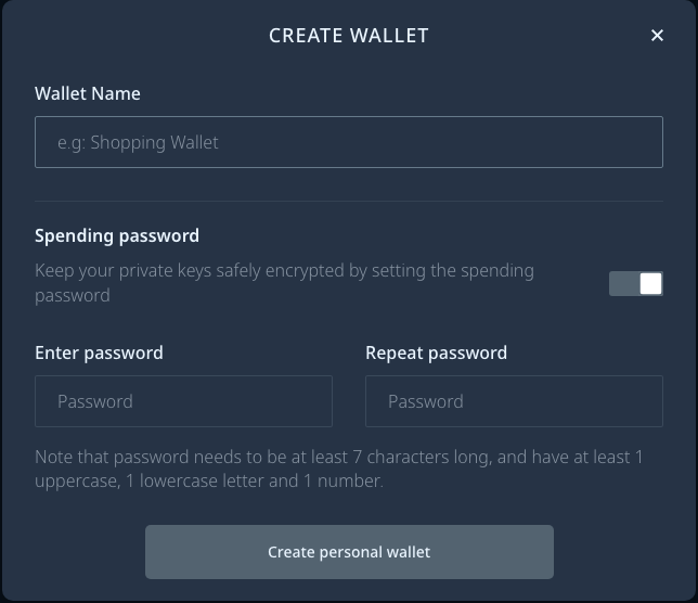 creazione di un nuovo wallet su daedalus