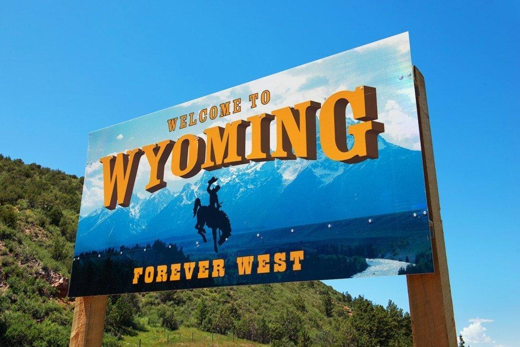 cartello di benvenuto in Wyoming