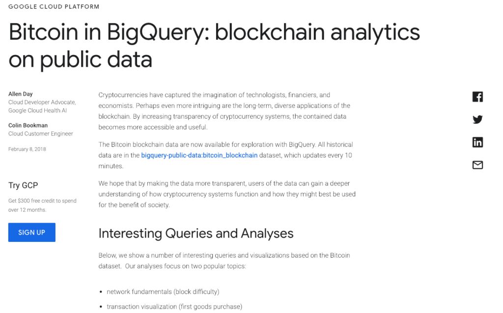 l'interfaccia di BigQuery dedicata a Bitcoin