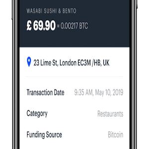 interfaccia utente coinbase card app